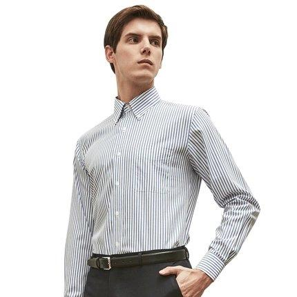 Men's Long-Staple Cotton Button Down Shirt Apparel shoe bag Lifease Striped Small