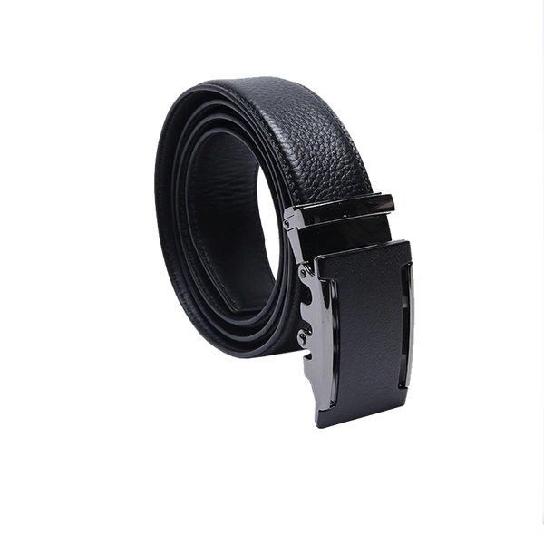 Men's Lychee Skin Embossed Leather Belt with Automatic Buckle Apparel shoe bag LIFEASE Black
