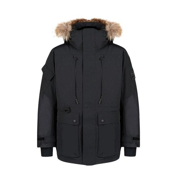 Men's Outdoor Down Long Jacket Holiday special LIFEASE Black M