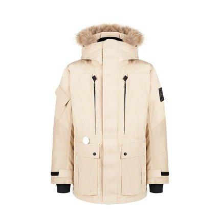 Men's Outdoor Down Long Jacket Holiday special LIFEASE Khaki M