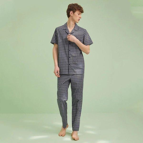 Men's Plaid Pajamas Set Apparel shoe bag LIFEASE