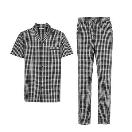 Men's Plaid Pajamas Set Apparel shoe bag LIFEASE Black and White Plaid S