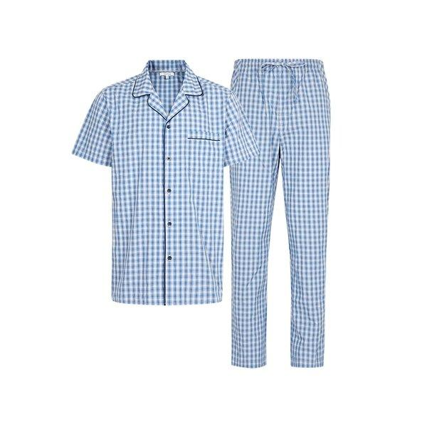 Men's Plaid Pajamas Set Apparel shoe bag LIFEASE Blue and White Plaid M