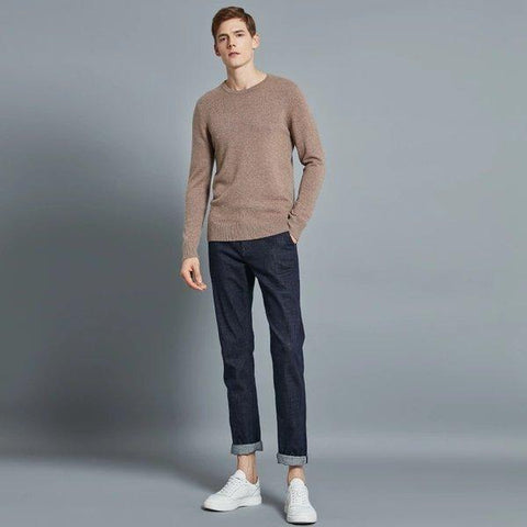 Men's Round Neck 100% Cashmere Sweater Apparel shoe bag LIFEASE