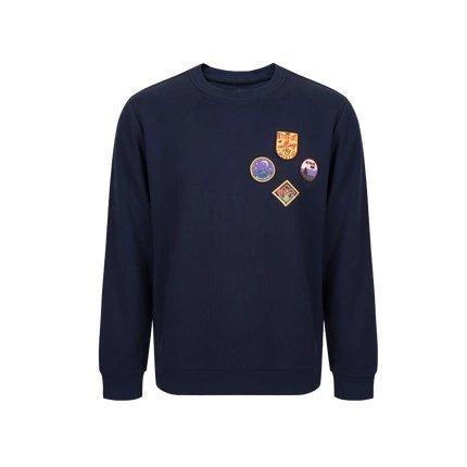 Men's Round Neck Sweatshirt with Vintage Badges Design Apparel shoe bag LIFEASE Navy M