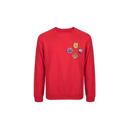 Men's Round Neck Sweatshirt with Vintage Badges Design Apparel shoe bag LIFEASE Red S