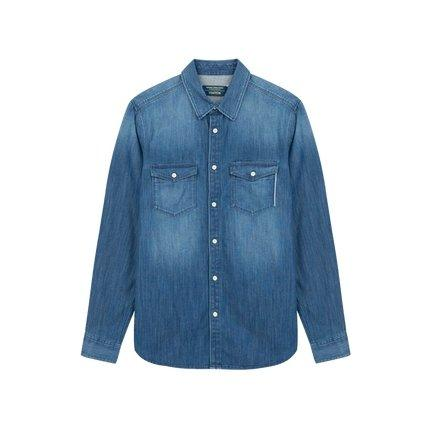 Men's Slim Fit Long Sleeve Denim Shirt Apparel shoe bag LIFEASE Blue M
