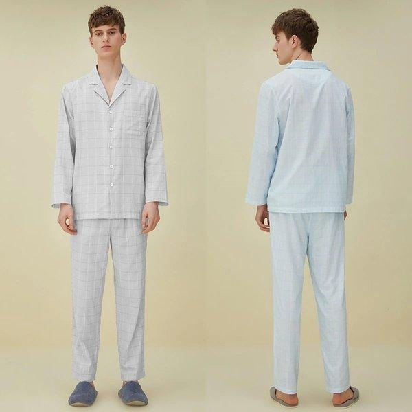 Men's Yarn-dyed Double-layer Yarn Pajamas Set Apparel shoe bag LIFEASE