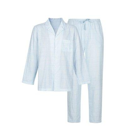 Men's Yarn-dyed Double-layer Yarn Pajamas Set Apparel shoe bag LIFEASE Blue M