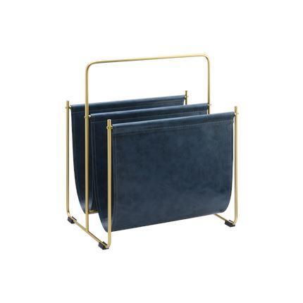 Metal and Faux Leather Magazine File Holder, Brown and Blue Home & kitchen LIFEASE Blue