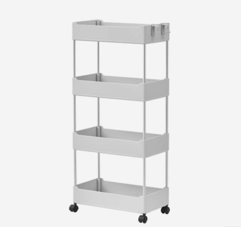 Multipurpose Storage Rack Shelving Unit Bookshelf Cabinet with 3 and 4 Bins Home & kitchen LIFEASE 4 Bins Gray