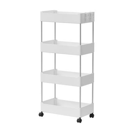 Multipurpose Storage Rack Shelving Unit Bookshelf Cabinet with 3 and 4 Bins Home & kitchen LIFEASE 4 Bins White