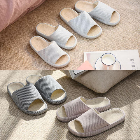 Linen & Cotton Minimalism Open Toe House Slippers - 4 Colors