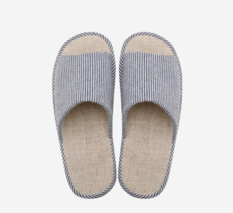 Organic Cotton and Linen House Slippers - Multiple Colors Home & kitchen LIFEASE Dark Blue L