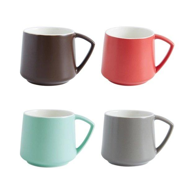 Plain Non-Stick Ceramic Mug (Set of 4) Home & kitchen LIFEASE Brown+Red+Grenn+Grey