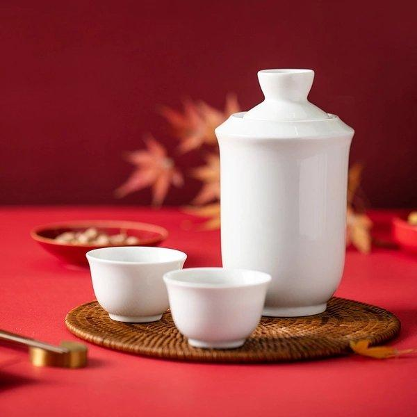 Porcelain Chinese Yellow Wine Warmer Set Home & kitchen LIFEASE
