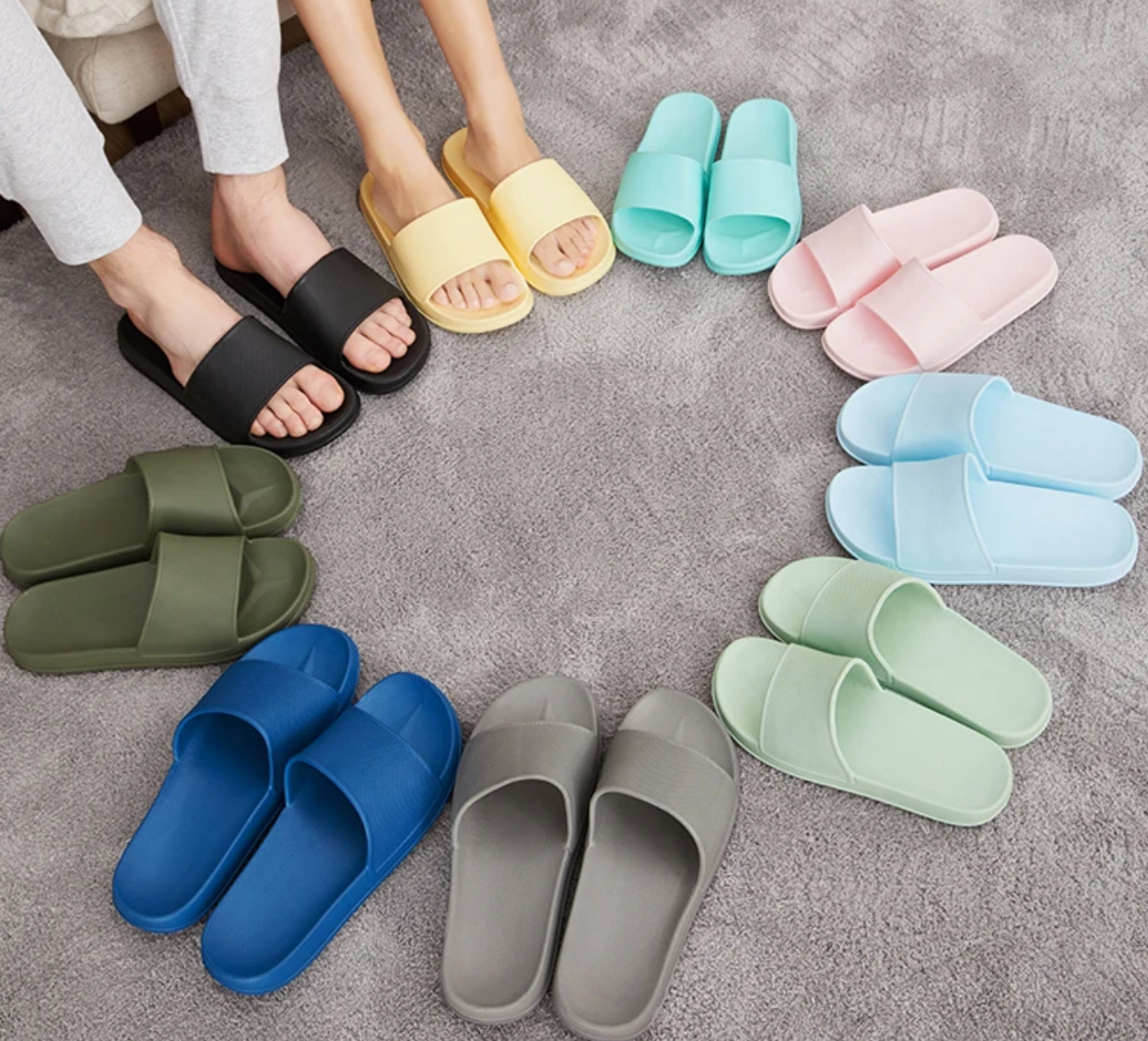 Four-Seasons Rainbow Open-Toe Slippers with EVA Material