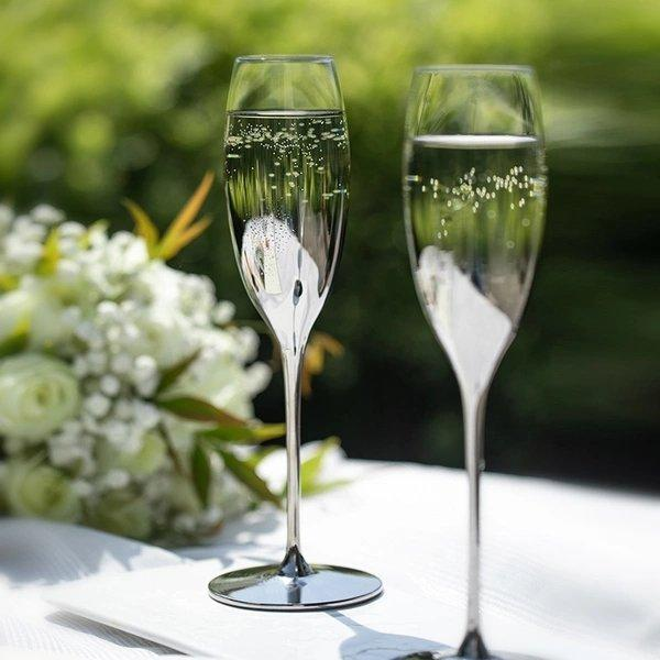 Silver Gradient Champagne Glass Gift Box Home & kitchen LIFEASE