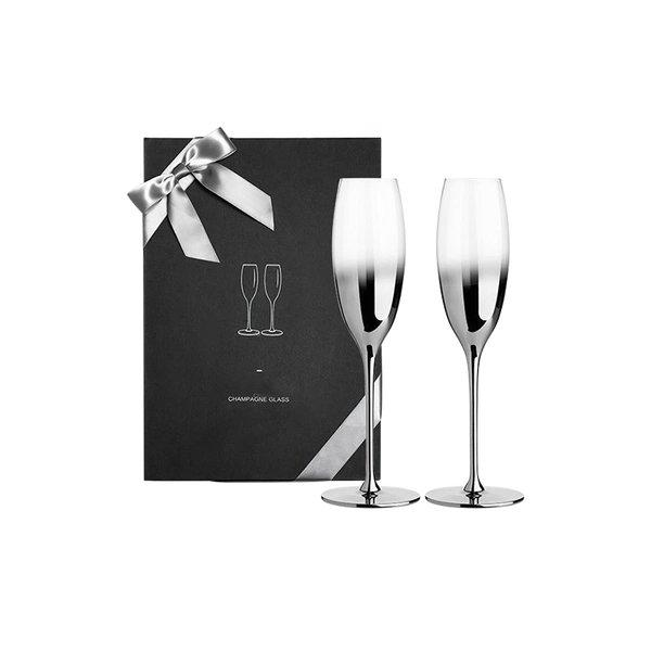 Silver Gradient Champagne Glass Gift Box Home & kitchen LIFEASE 245ml (2 pieces)