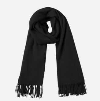 Solid Color 100% Wool Scarf - Unisex Apparel shoe bag LIFEASE Black