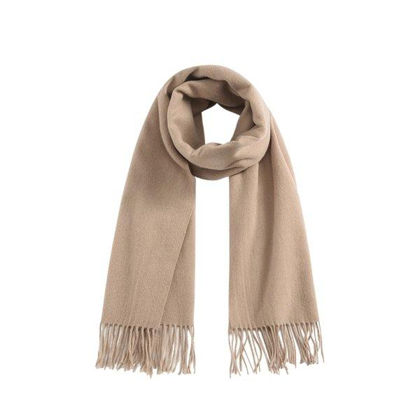 Solid Color 100% Wool Scarf - Unisex Apparel shoe bag LIFEASE Caramel
