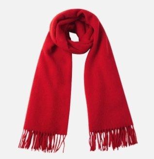 Solid Color 100% Wool Scarf - Unisex Apparel shoe bag LIFEASE Red