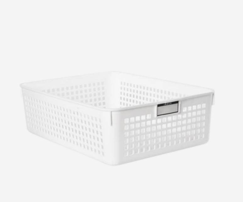 Storage Basket With Label Holders [Made In Japan] Home & kitchen LIFEASE C section 8.4x11.4x3.5 inch