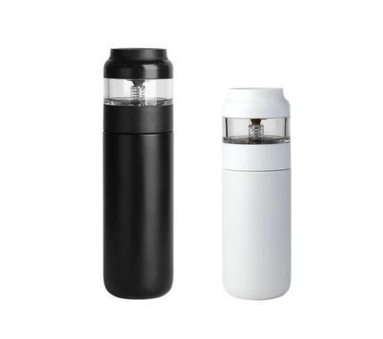 Tea Infuser Stainless Steel Insulated Tea Bottle Home & kitchen LIFEASE 3.5 oz + 13.5 oz Black + White