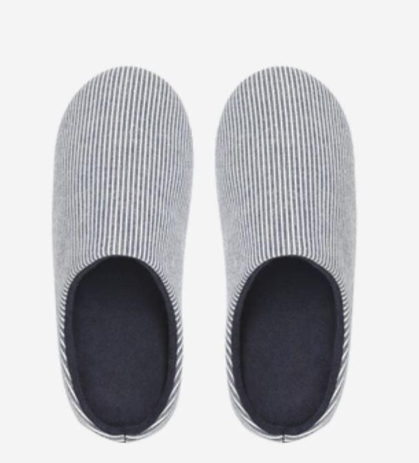 Unisex Striped Home Slippers - Japanese Style Home & kitchen LIFEASE Blue L (40-41)