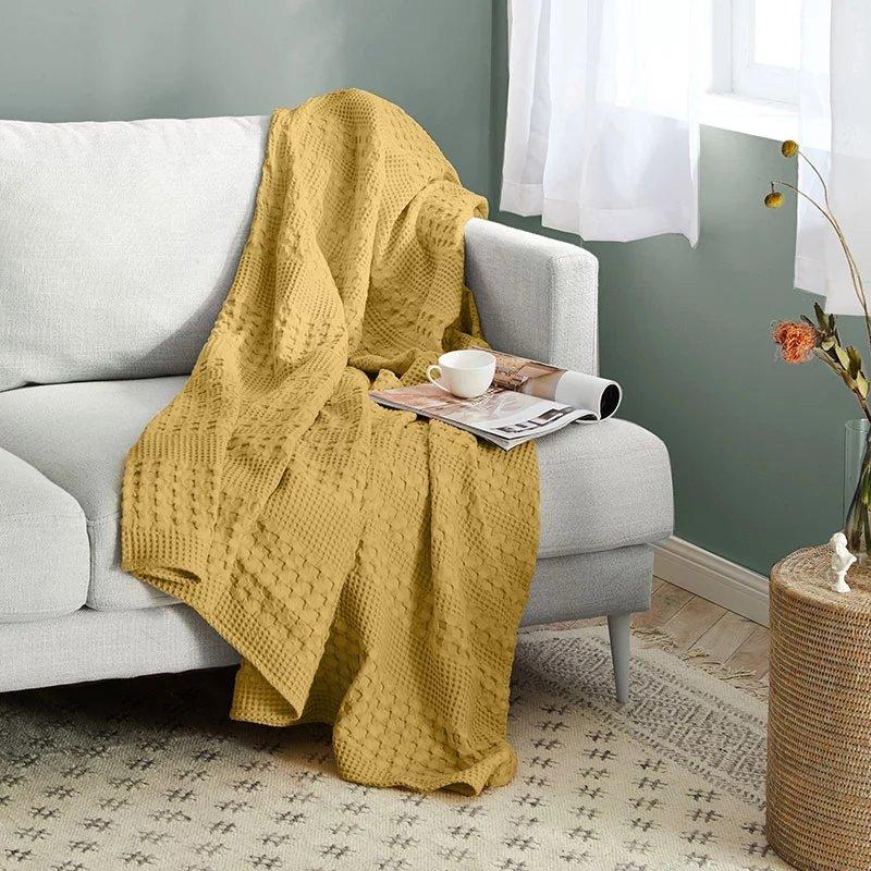Waffle Pattern Cotton Cover Blanket Home & kitchen LIFEASE
