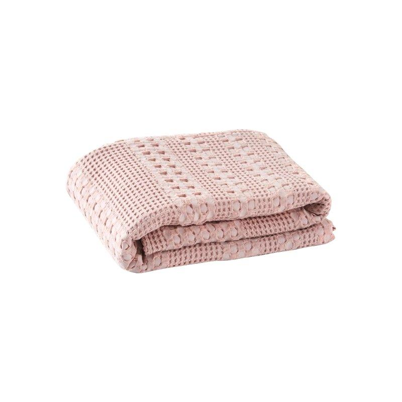 Waffle Pattern Cotton Cover Blanket Home & kitchen LIFEASE Pink 78.7''