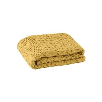Waffle Pattern Cotton Cover Blanket Home & kitchen LIFEASE Yellow 78.7''