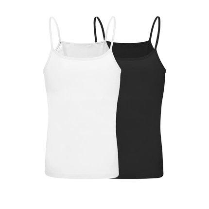 Women's 100% Cotton Camisole (2 styles) Apparel shoe bag LIFEASE Black+White XS Strap style