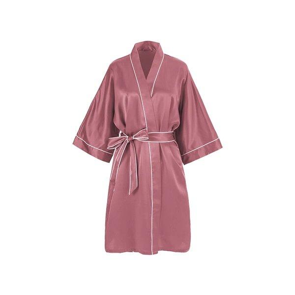 Women's 100% Silk Kimono Style Robe Apparel shoe bag LIFEASE Red Bean Pink S