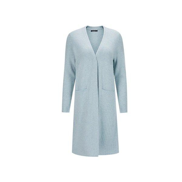 Women's 100% Wool Rib Long Cardigan Apparel shoe bag LIFEASE Blue Grey S
