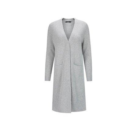 Women's 100% Wool Rib Long Cardigan Apparel shoe bag LIFEASE Light Grey S