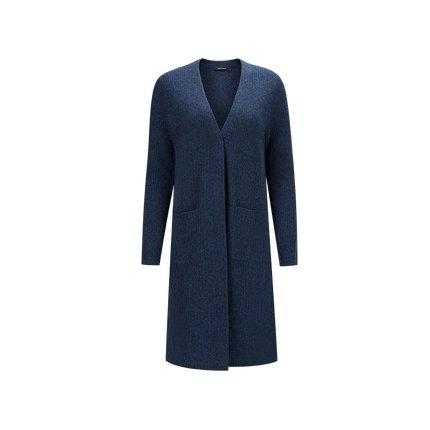 Women's 100% Wool Rib Long Cardigan Apparel shoe bag LIFEASE Navy S
