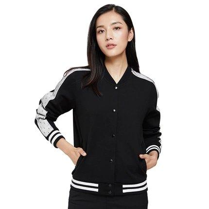 Women's Baseball Jacket with Lace Sleeve Detail Apparel shoe bag LIFEASE