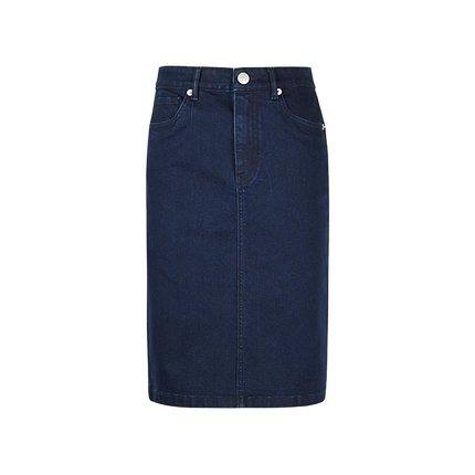 Women's Basic Midi Denim Skirt Apparel shoe bag LIFEASE Navy XS
