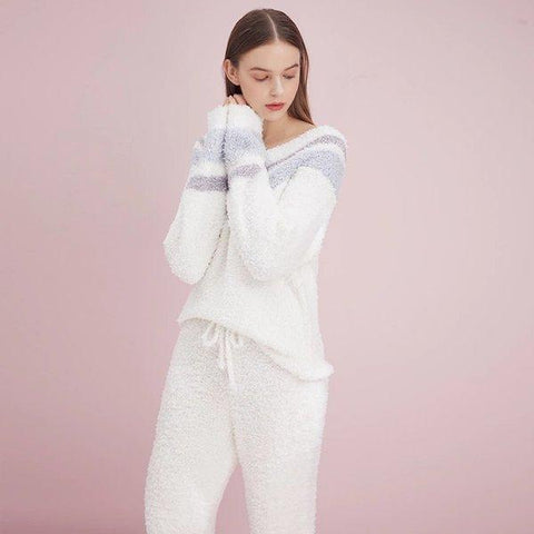 Women's Chenille Fluffy Fabric Pajamas Set Apparel shoe bag LIFEASE