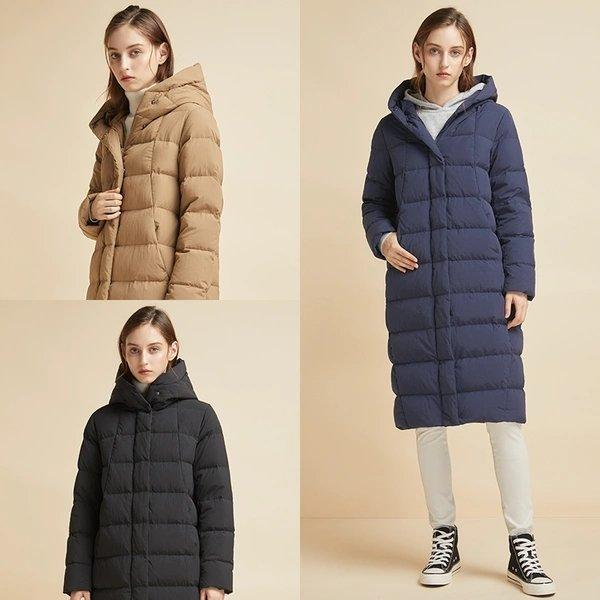 Women's Cocoon Shaped Extra Long Down Jacket Apparel shoe bag LIFEASE