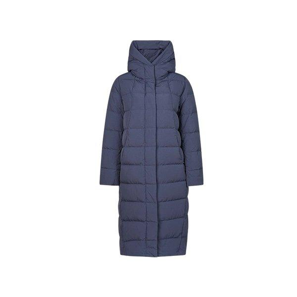 Women's Cocoon Shaped Extra Long Down Jacket Apparel shoe bag LIFEASE Navy S