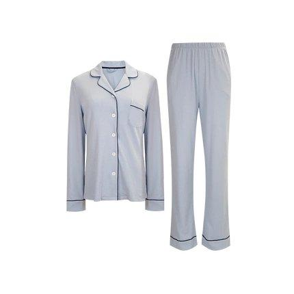 Women's Cotton Knit Pajamas Set Apparel shoe bag LIFEASE Grey-Blue S