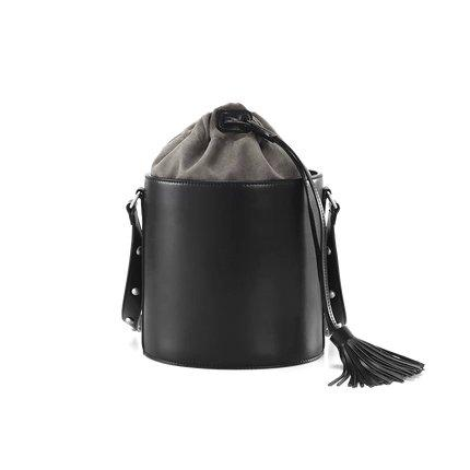 Women's Drawstring Bucket Shoulder Bag Apparel shoe bag LIFEASE Black