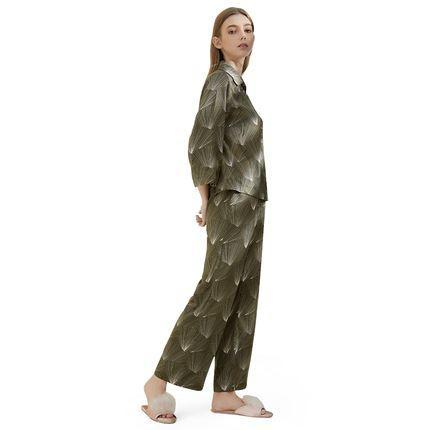 Women's Elegant Dark Green Print Sleepwear (top + pants) Apparel shoe bag LIFEASE Print S