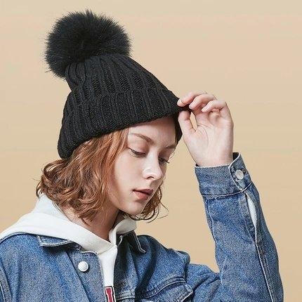 Women's Knitted Beanie Hat with Faux Fur Pom Apparel shoe bag LIFEASE