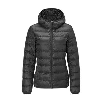 Women's Lightweight Slim-fit Down Jacket Holiday special Lifease Black S With cap