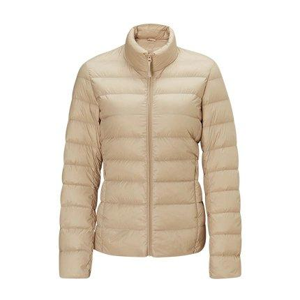 Women's Lightweight Slim-fit Down Jacket Holiday special Lifease Khaki S No cap