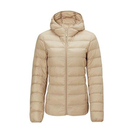 Women's Lightweight Slim-fit Down Jacket Holiday special Lifease Khaki S With cap