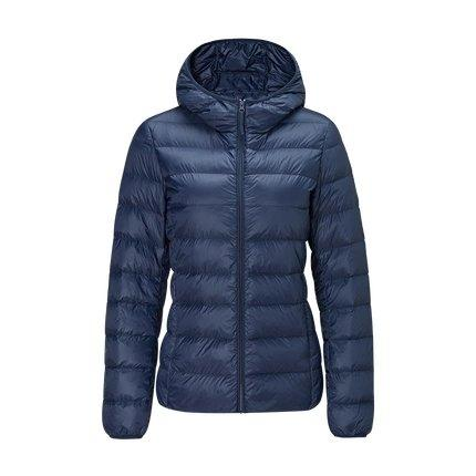 Women's Lightweight Slim-fit Down Jacket Holiday special Lifease Navy S With cap